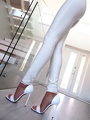 1969 Pumps 13 cm Sexy 42 43 white leather weiss leder fetish sandals high heels