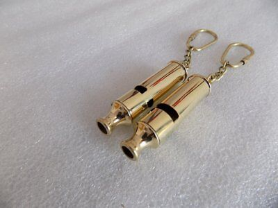 London England Police Bobby Barrel Whistle Scotland Yard Cop Key Ring - Set Of 2
