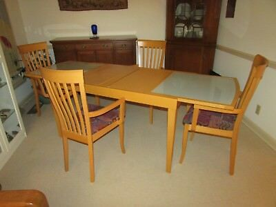 Italian Designer Dining Set Table Arm Chairs Solid Wood Art Deco Modern Extdg