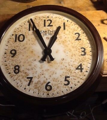 Large Early Bakelite Smiths English Electric Wall Clock.