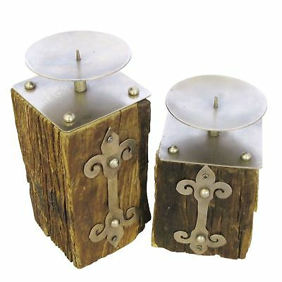 Rustic Railway Sleeper Candle Holders with Weathered Silver Metal Gothic 2 Sizes