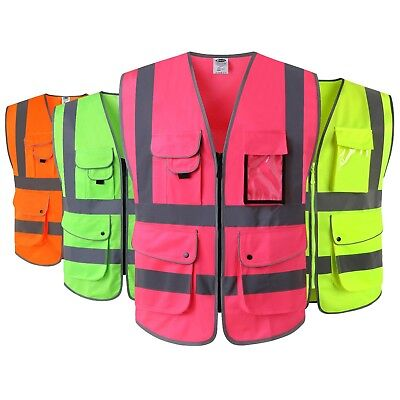 JKSafety High Reflective Safety Vest ANSI Class 2 Multi Pockets Multi Colors PPE
