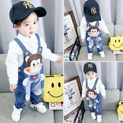 Kids Baby Boys Denim Clothes Monkey Pants Boy Bottoms Trousers Jeans Overalls
