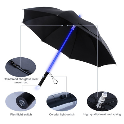 LED Lightsaber Umbrella Light Up With 7 colors and With Torch on The Bottom