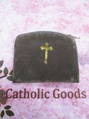 Pewter Suede - Gold Stamp -  Zipper Rosary or Chaplet Pouch with Lining