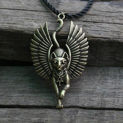 Ancient Egypt Cat Goddess Bastet with Wing Creative Metal Necklace Pendant