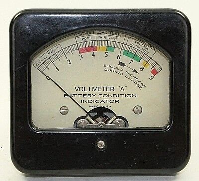"""Vintage Voltmeter """"A"""" Battery Condition Indicator 0 - 9 Volts DC Analog"""