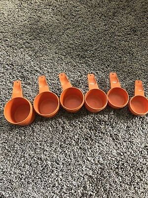 Vintage Tupperware Orange 6 Piece Measuring Cup Set