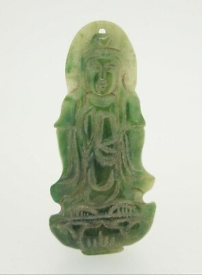 Old Natural Green Jade Jadeite Kwan Yin Buddha Pendant Charm Chinese Antique