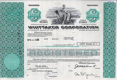 WHITTAKER Corporation, California, 1972,  10% Debenture du 1988 (10.000 $)