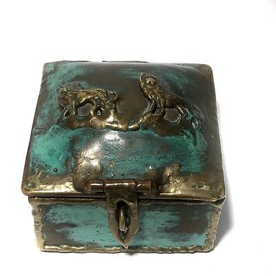 Laton Mexico R Cervantes Vintage Brass w Verdigris Patina Metal Art Trinket Box