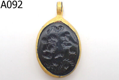 Old Rare Wonderful Agate Greek King&Queen Intaglio Gold Plated Pendant #A92