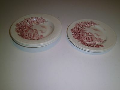 Vintage Royal Tudor Ware Olde Abbey Staffordshire England RED 3 Bowls 2 Plates