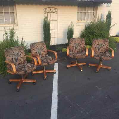 Terrific 4 Broyhill Lenoir Mid Century Oak Cane Back Arm Chairs Pdpeps Interior Chair Design Pdpepsorg