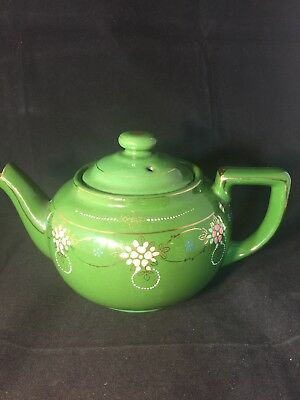 Vintage Teapot Japan MC Green Hand Painted Flowers Gold Trim Marked Good Cond.
