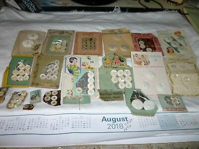 Assorted BUTTON CARDS Including Lucky Day / Pearl   94 Buttons White Off White