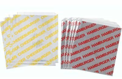 100 Printed Foil Hamburger and Cheeseburger Bags (50 of each)
