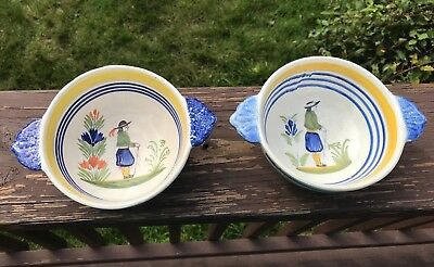 Herriot Quimper Pottery Lug Handled Bowls Made In France Dated 1979 & 1992