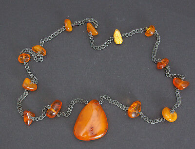 Antique Natural Butterscotch Egg Yolk Baltic Amber Necklace 52.5g.