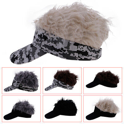 Unisex Novelty Toupee Wig Sun Visor Cap Sport Baseball Golf Hip Hop Hats  Caps GW 744d7891fed9