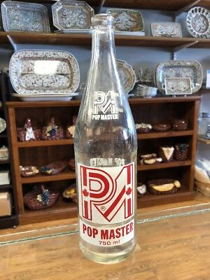 Vintage ACL PM Pop Master London Ontario Canada 750 ml Clear Glass Soda Bottle