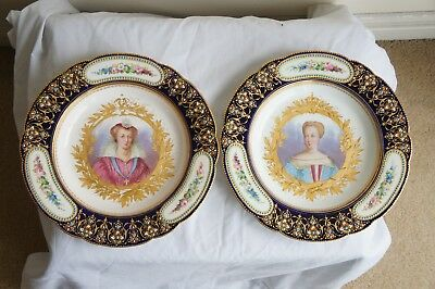 Set of Two Late 18th Century- Early 19th Century French Porcelain Sevres Plates