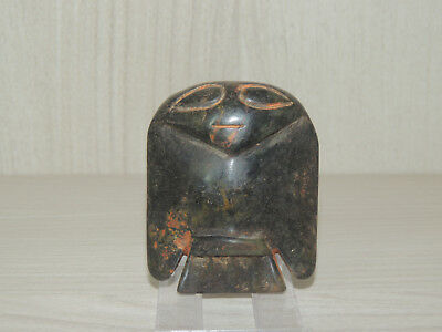 Ancient Black Stone Carved Idol statuette,Monster.Alien,The God Bird