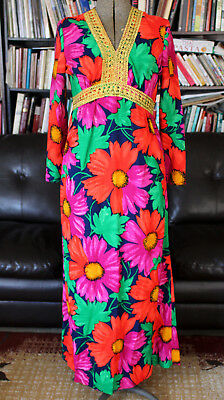 VTG 60s Max Long Sleeve Hippie Boho psychedelic Bright Flower Floral Gold Medium