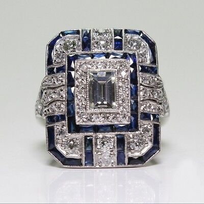 Antique Art Deco Large 925 Jewelry Sterling Silver Blue Sapphire Ring