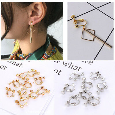 4/8/10pc Silver Gold Ear Screw Back Clip On Non Piercing Earring Jewelry Finding