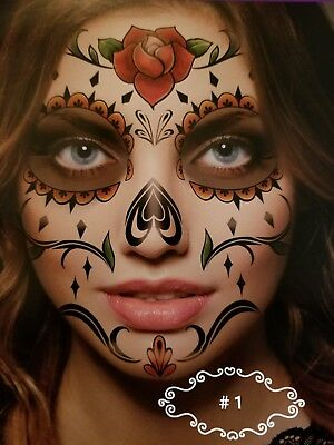 # 1  DAY OF THE DEAD Halloween Face Tattoo No Mask Necessary for Costume NEW