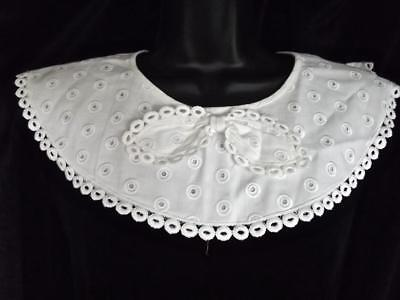 Vintage Karyl Lee White Cotton Pique Pilgrim Collar Front Bow Lace Back Closure