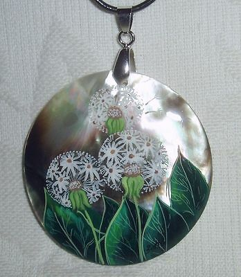 """Russian Mother of pearl Pendant """" Dandelion """" Flower Hand Painted"""