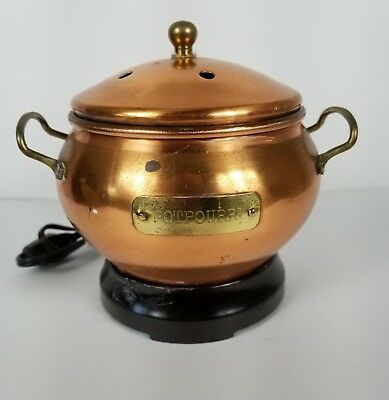 Vintage Copper Pot Potpourri Holder With Brass Handles And Lid