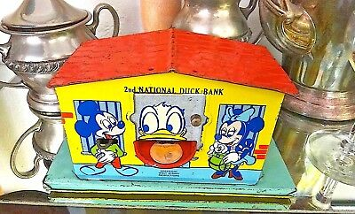 1950's Walt Disney 2nd National DUCK Bank J. CHEIN Tin Litho Donald Green B 1605