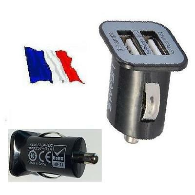 Chargeur Adaptateur Allume Cigare Double Prise USB  12V  Sortie: 2  X  5V > 3,1A