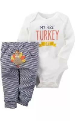 ee4e21d18 NWT-Baby Boys Carters My First Turkey Day 2 Pc Thanksgiving Pant Set-size