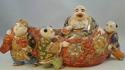 Laughing lying Down Buddha Statue with 3 kids vintage unique rare