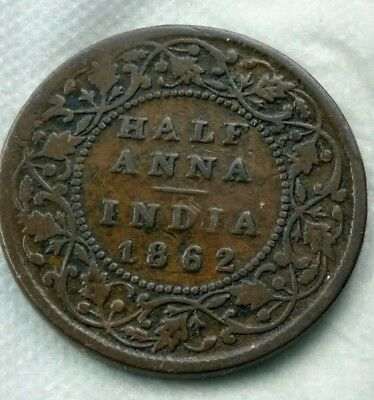 British India 1862 Half Anna Coin Hard To Find Coin