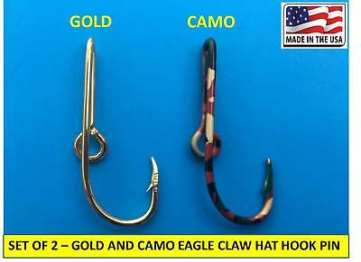 Custom Pink Camo Colored Eagle Claw Fish Hook Hat Pin Pink Cam0 Fish Hook Clip