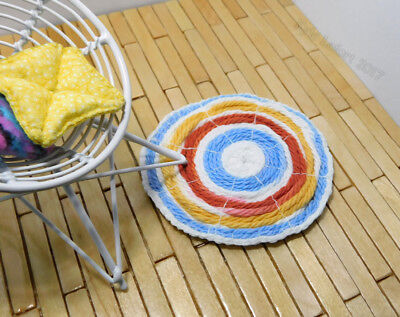 Dollhouse Miniature Round Pastel Primary Throw Rug - Artist Made by Kyle Lefort