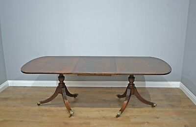 late 19th century mahogany regency style twin pillar dining table