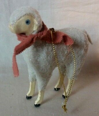 """Sparkling Sheep with Scarf Christmas Tree Animal Hanging Ornament or Figurine 4"""""""