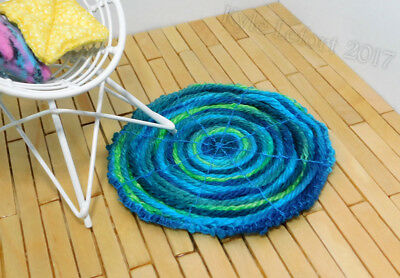 Dollhouse Miniature Round Blue and Green Throw Rug - Artist Made by Kyle Lefort