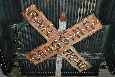 Antique Cast Iron Railroad Crossing Sign Glass Cats Eye relfectors  Movie Prop