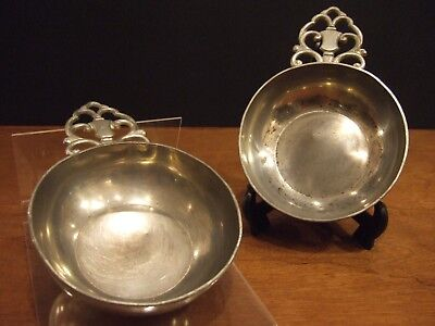 "Vintage Royal Holland KMD TIEL 5"" diameter Pewter Porringer Bowls, set of Two"