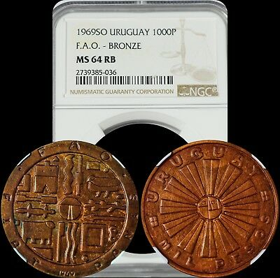 1969SO Uruguay 1000 Pesos NGC MS 64 RB F.A.O.-Bronze Very Stylish Design Coin