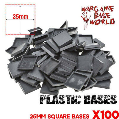 100pcs x 25mm Square Plastic Bases Miniatures Base and Wargame Model Bases