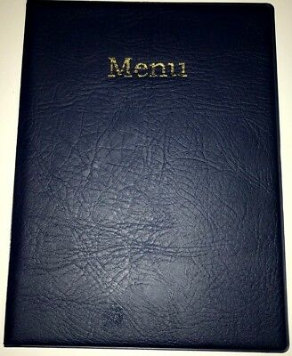 LIMITED -qty 20 A4 MENU HOLDER/COVER/FOLDER IN HEAVY GRAIN BLUE LEATHER LOOK PVC