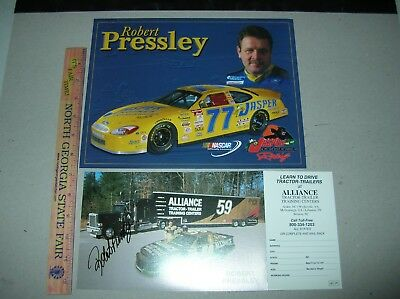 AUTOGRAPH NASCAR ROBERT PRESSLEY Promo signed photo postcard racing Alliance jas